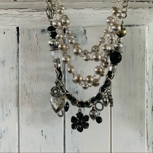 Two necklaces- silver and black